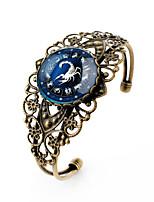 Lureme® Vintage Jewelry Time Gem The Zodiac Series Scorpio Antique Bronze Hollow Flower Open Bangle Bracelet for Women