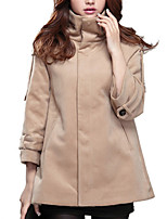 Women's Solid Brown Coat,Simple ¾ Sleeve Wool