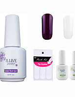 ILuve Franch Gel Nail Polish With Top And Base Coat,Pack Of 4 With Sticker,Long Lasting Soak Off UV Led Gel Varnish #05
