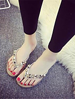 Women's Shoes Fabric Flat Heel Flip Flops Flip-Flops Casual Black / Silver / Gold