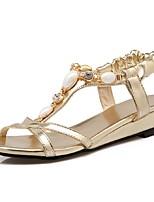 Calçados Femininos-Sandálias-Anabela / Tira no Tornozelo-Anabela-Azul / Rosa / Dourado-Courino-Casual / Festas & Noite / Social