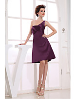 Cocktail Party Dress-Grape A-line One Shoulder Knee-length Satin