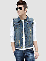 Men's Pure Sleeveless Jacket,Cotton / Polyester Casual