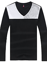 Men's Long Sleeve T-Shirt,Cotton / Spandex Casual / Plus Sizes Patchwork