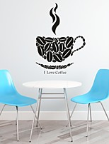 AYA™ DIY Wall Stickers Wall Decals, I Love Coffee English Words & Quotes PVC Wall Stickers