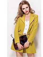 Women's Solid Yellow Set,Notch Lapel Long Sleeve