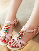 Women's Shoes Leatherette Flat Heel Mary  / Comfort Sandals Dress / Casual Blue / Pink / Beige