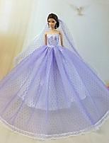Poupée Barbie-Pourpre clair-Mariage-Robes- enOrganza / Dentelle