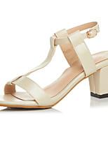Women's Shoes  Chunky Heel Heels / Peep Toe Sandals Casual Black / Pink / White / Beige