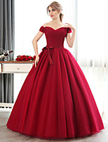 Princess Wedding Dress-Burgundy Floor-length Off-the-shoulder Crepe / Satin / Tulle / Sequined