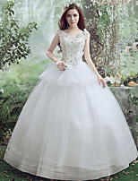 A-line Wedding Dress-White Floor-length V-neck Lace / Tulle