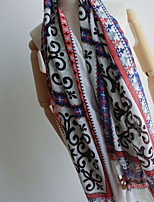 Women Bohemian National Wind Cotton Fringed  Print Colored Beads Retro Silk  oversized  Scarf Beautiful Scarves