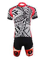 PaladinSport Men 's Cycyling Jersey + Shorts Bike Suits for DT614  red prickles