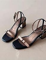 Zapatos de mujer-Tacón Robusto-Punta Abierta-Sandalias-Vestido / Casual-Sintético-Negro