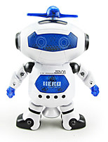 Electrical Robot Dancing Light Up Toy Singing Spinning White/Blue Music Toy