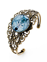 Lureme® Vintage Jewelry Time Gem Series Wolf Antique Bronze Hollow Flower Open Bangle Bracelet for Women