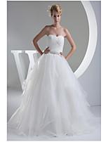 웨딩 드레스-아이보리(색상은 모니터에 따라 다를 수 있음) A 라인 바닥 길이 스윗하트 오르간자 / 사틴