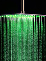 Monochrome LED Shower Nozzle Top Spray Shower Nozzle (Green)(16 Inch)