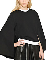 Women's Solid Black Cloak/Capes,Simple / Street chic Long Sleeve Polyester