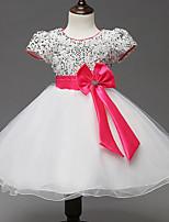 Girl's Gold / Pink / White Dress,Print Polyester Summer / Fall / Spring