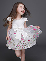 Girl's White Dress,Lace Polyester Summer