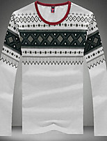Men's Long Sleeve T-Shirt,Cotton / Spandex Casual / Plus Sizes Print