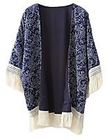 Women's Print Blue Shirt,Round Neck ¾ Sleeve