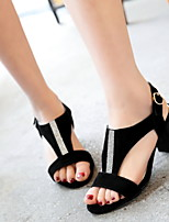 Women's Shoes Leatherette Chunky Heel Peep Toe Sandals Outdoor / Dress / Casual Black