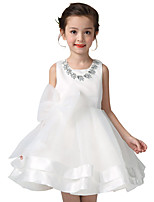 Kids Girl's White Flowers Evening Party/Bridesmaid Formal Lace Dress with Diamond Necklace Accessory& Knot bow Belt