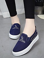 Women's Shoes Rivet Canvas Platform Comfort / Round Toe Loafers Outdoor / Casual Black / Blue / Red