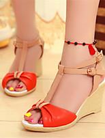 Women's Shoes Leatherette Wedge Heel Wedges / Heels Sandals Office & Career / Dress / Casual Blue / Beige / Orange