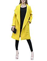 Women's Solid Yellow Coat,Simple Long Sleeve Polyester