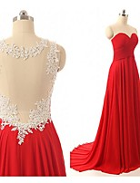 Formal Evening Dress-Ruby A-line Jewel Sweep/Brush Train Chiffon / Tulle