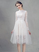 Knee-length Lace Bridesmaid Dress-Ivory A-line High Neck