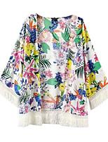 Women's Floral White Coat,Simple Long Sleeve Cotton