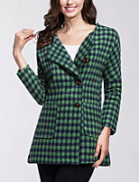 Women's Plaid Coat,Simple Long Sleeve Polyester