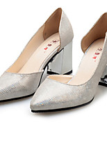 Women's Shoes Leatherette Chunky Heel Heels Heels Office & Career / Party & Evening Gray
