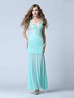 Formal Evening Dress-Clover Trumpet/Mermaid V-neck Ankle-length Chiffon
