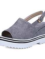 Women's Shoes Wedge Heel Wedges / Peep Toe / Platform / Slingback Sandals Outdoor / Dress / Casual Black / Gray