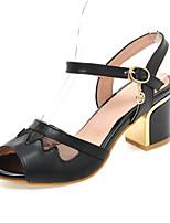 Women's Shoes Leatherette Chunky Heel Heels Sandals Wedding / Party & Evening / Dress Black / Blue / Beige