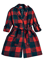 Women's Plaid Red / White Coat,Simple ½ Length Sleeve Wool / Polyester