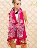 Autumn And Winter Korean Women Warm Jacquard Tassel Embroidery Shawl Collar And Long Sections Thick Scarves