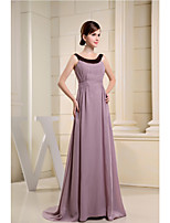 Formal Evening Dress-Lilac A-line Scoop Sweep/Brush Train Chiffon
