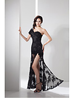 Formal Evening Dress-Black Sheath/Column One Shoulder Floor-length Lace / Taffeta