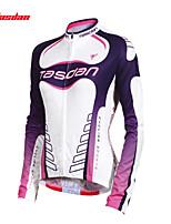 tops / Jersey(Roxo) - deCiclismo-Mulheres-Respirável / Resistente Raios Ultravioleta / Secagem Rápida / Redutor de Suor Manga Comprida