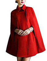 Women's Solid Red Cloak/Capes,Simple ½ Length Sleeve Wool