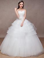 웨딩 드레스-화이트 프린세스 바닥 길이 스윗하트 오르간자