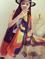 Mixed of Rainbow Colored Graffiti Printed Silk Summer  Beach Towel Scarf Sunscreen Scarves