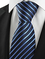 KissTies Men's Striped Blue Microfiber Tie Necktie For Wedding Holiday With Gift Box