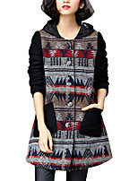 Women's Patchwork Black Coat,Simple Long Sleeve Polyester